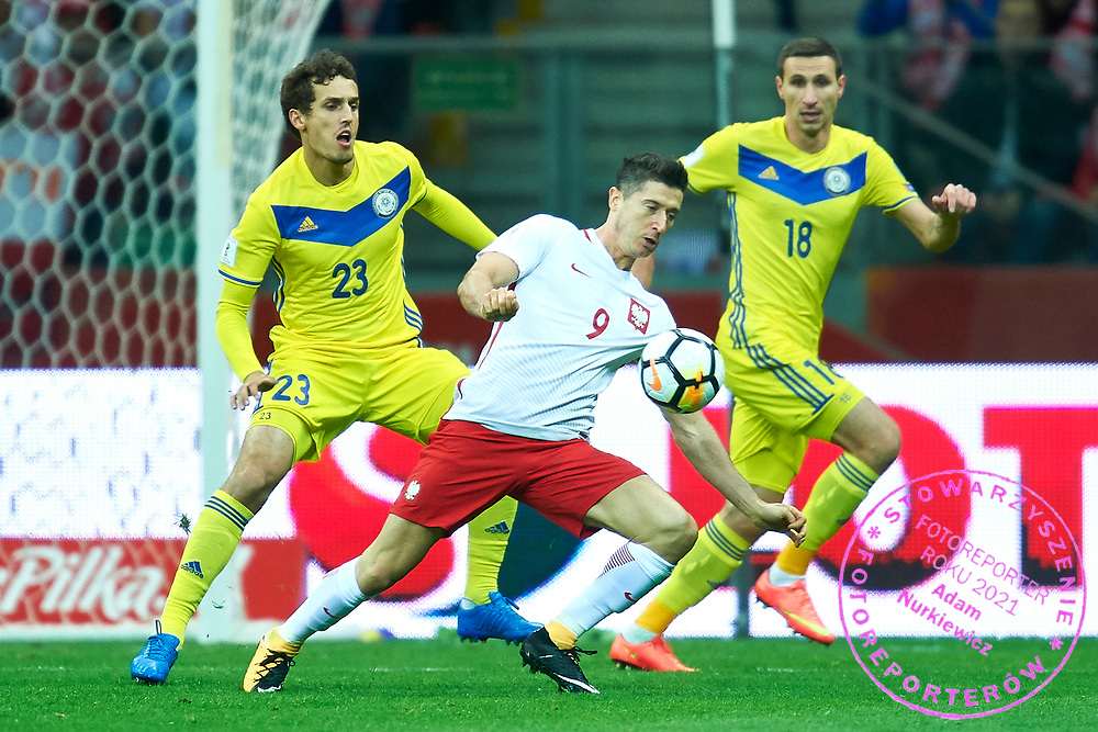 Warsaw, Poland - 2017 September 04: Robert Lewandowski from Poland fights for the ball during soccer match Poland v Kazakhstan - FIFA 2018 World Cup Qualifier at PGE National Stadium on September 04, 2017 in Warsaw, Poland.<br /> <br /> Adam Nurkiewicz declares that he has no rights to the image of people at the photographs of his authorship.<br /> <br /> Picture also available in RAW (NEF) or TIFF format on special request.<br /> <br /> Any editorial, commercial or promotional use requires written permission from the author of image.<br /> <br /> Mandatory credit:<br /> Photo by &copy; Adam Nurkiewicz / Mediasport