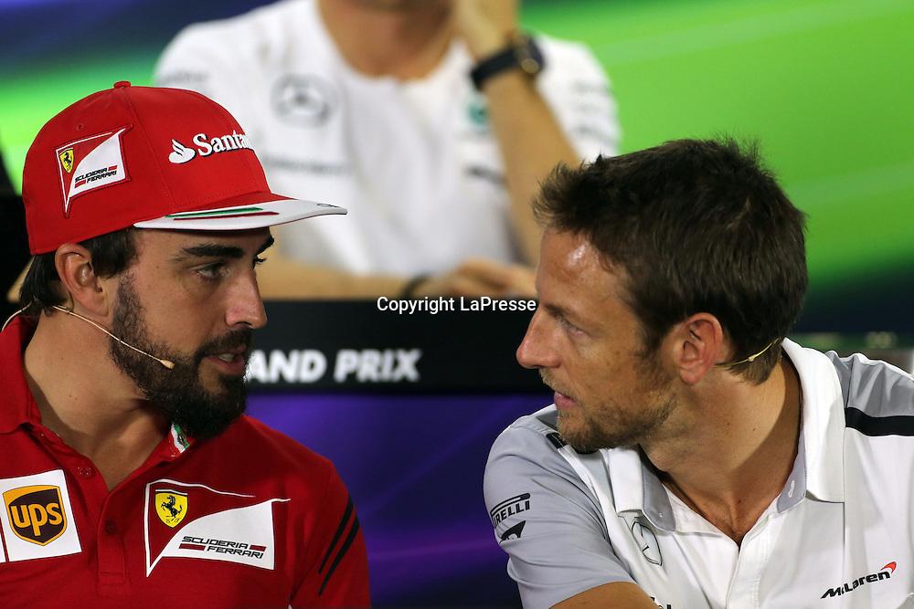 &copy; Photo4 / LaPresse<br /> 20/11/2014 Abu Dhabi, UAE<br /> Sport <br /> Grand Prix Formula One Abu Dhabi 2014<br /> In the pic: Press Conference, Fernando Alonso (ESP) Scuderia Ferrari F14-T and Jenson Button (GBR), McLaren  Mercedes, MP4-29