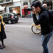 Arrivee de la fashion blogger Chiara Ferragni au defile de Alberta Ferretti, pendant la semaine de la mode femme de Milan