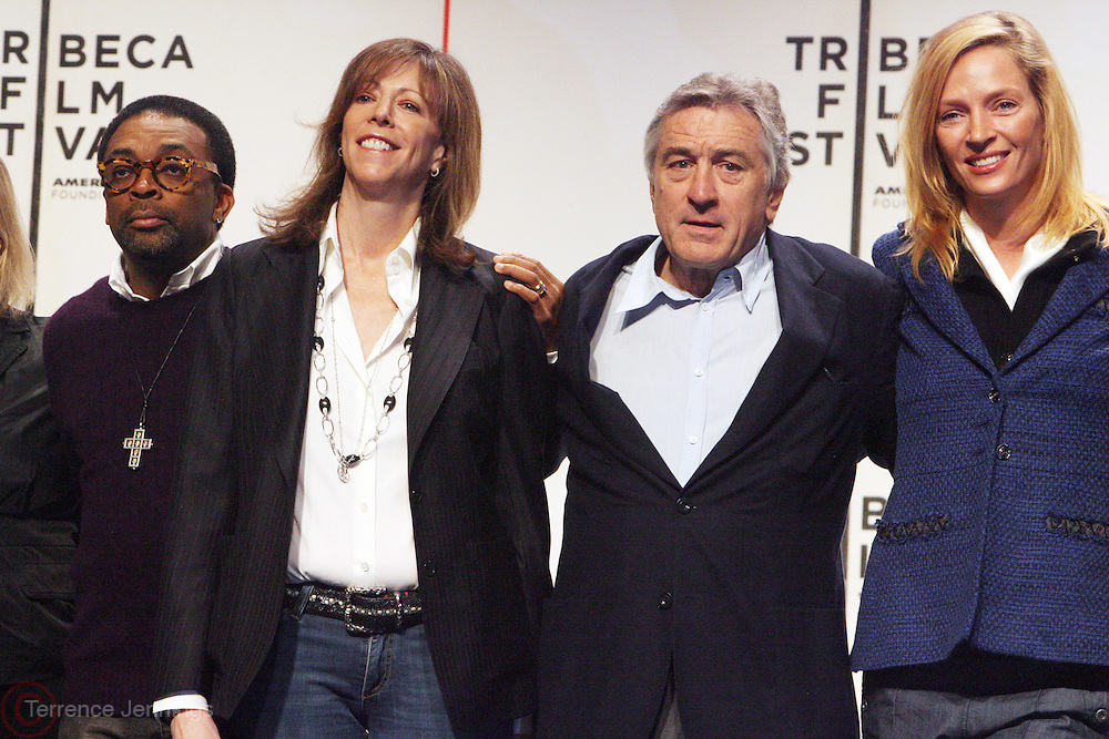 l to r: Spike Lee, Jane Rosenthal, Robert De Niro and Urma Thurman at The 2009 Tribeca Film Festival Opening Press Conference Kick-Off held at The Borough of Manhattan Community College in New york City on April 21, 2009