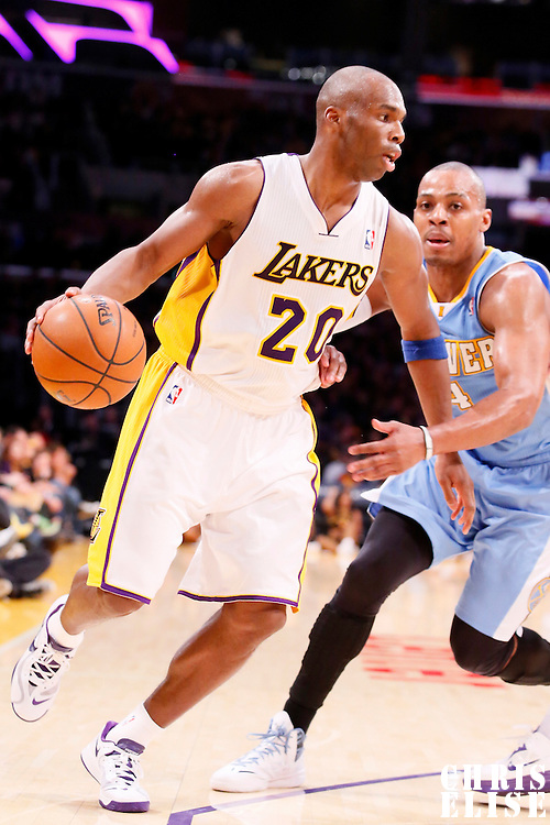 05 January 2014: Los Angeles Lakers shooting guard Jodie Meeks (20) drives past Denver Nuggets shooting guard Randy Foye (4) during the Denver Nuggets 137-115 victory over the Los Angeles Lakers at the Staples Center, Los Angeles, California, USA.