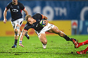 Hong Kong player Max Woodward is tripped up after a long run in the first half during the Rugby World Cup qualifier between Hong Kong and Canada at Stade Delort, Marseilles, France on 23 November 2018. Picture by Ian  Muir.