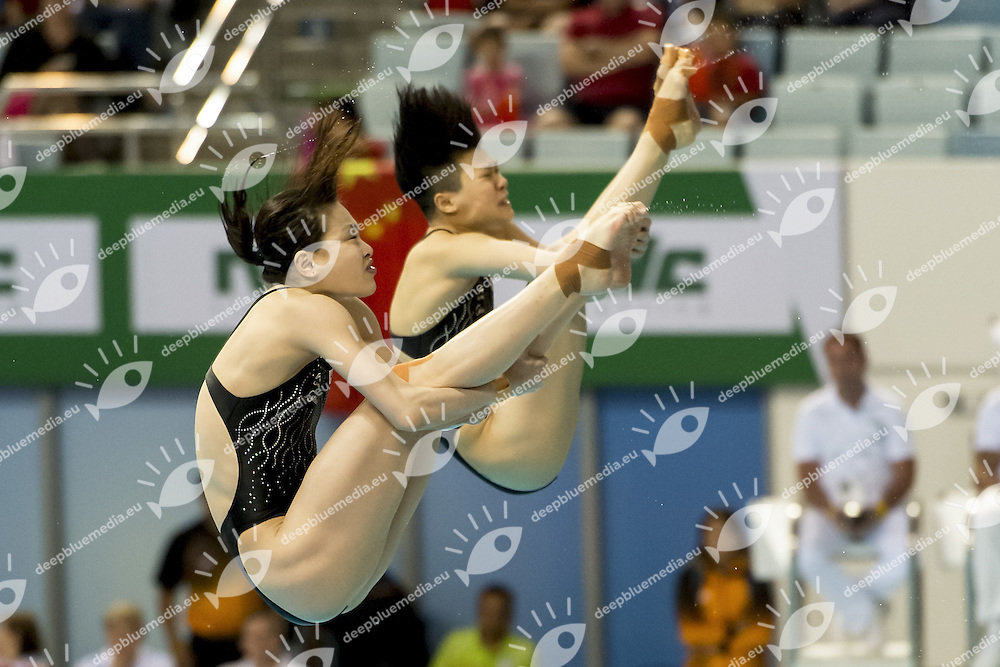 CHN WU Minxia; SHI Tingma<br /> FINA/NVD Diving World Series 3 M. WoWomen Synchro final<br /> Hamdan Bin Rashid Bin Mohammed Sport Complex<br /> Dubai 19 - 21  March 2015<br /> Day 1 - March 19 th <br /> Photo Giorgio Scala / Deepbluemedia