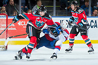 KELOWNA, CANADA - NOVEMBER 14: Jack Cowell #8 of the Kelowna Rockets checks Tomas Soustal #11 of the Edmonton Oil Kings to the ice during second period on November 14, 2017 at Prospera Place in Kelowna, British Columbia, Canada.  (Photo by Marissa Baecker/Shoot the Breeze)  *** Local Caption ***