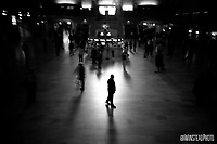 Grand Central Station, NYC, New York City, Big Apple, train station, station, man, alone, B&W,
