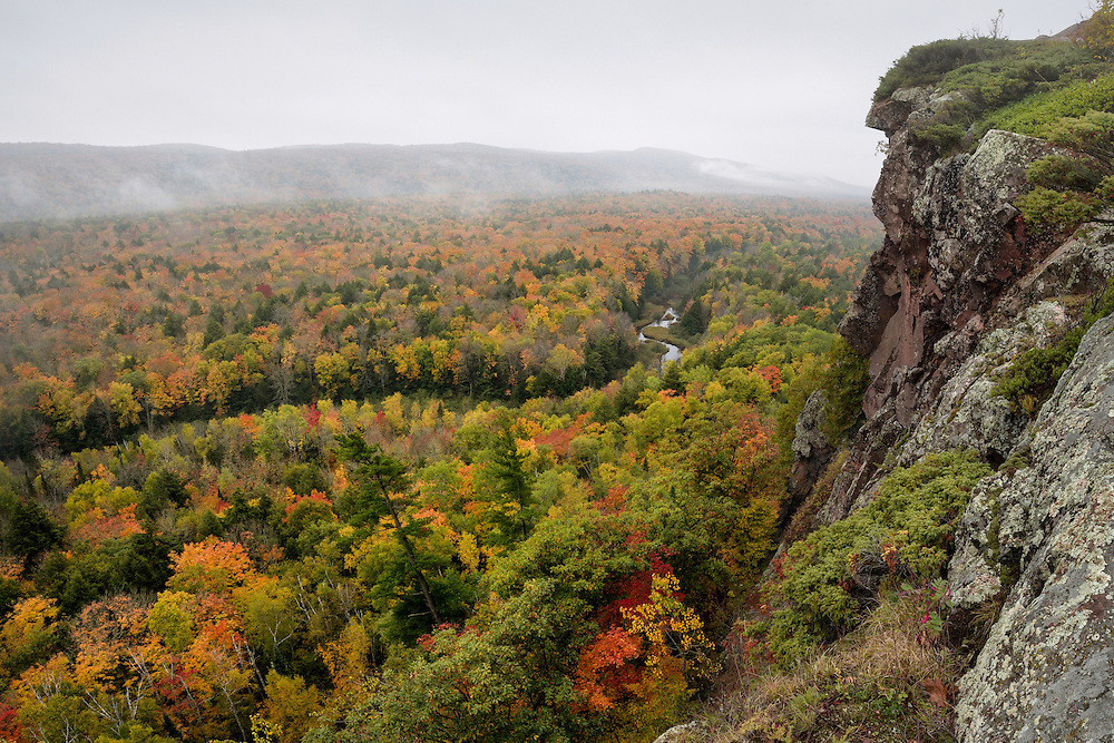 Morning fog hovers over the Big Carp River Valley - Porcupine Mountains Wilderness
