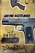 Celebrated young pakistani artist Asim Butt on a journey of political graffiti through Pakistan during the summer of 2009..In the central gun market in Multan Asim makes work titled 'For the waste alone'. The graffiti grieves the loss of life caused by instruments of death.