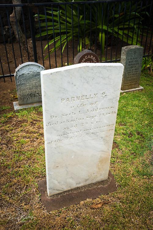 Graves in the cemetery at Moku'aikaua Church (first church in Hawaii), Kailua-Kona, Hawaii USA