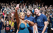 West End Stage celebrates its milestone 10,000th student<br /> with a special visit from Marisha Wallace<br /> star of multi-award winning West End musical Dreamgirls <br /> at Guildhall School of Music, London, Great Britain <br /> 17th August 2018 <br /> <br /> Marisha Wallace who plays <br /> the role of Effie White in Dreamgirls <br /> with Charlie Plumridge (age 15) from Hereford the school&rsquo;s 10,000th student<br /> &amp;<br /> Stuart Thompson (aged 21) from Durham, who is now  studying at LAMDA having pursued his passion for performing.<br /> <br /> In summer 2006, West End Stage began in a bid to become the UK&rsquo;s leading theatre summer school.&nbsp;Its aim was, and still is, to ignite a global passion for theatre, uniting young people from all over the world. Throughout the week-long course led by West End stars,&nbsp;the students&nbsp; take part in in an exciting mix of drama, singing and dance classes, as well as enjoying an inspirational trip to a West End musical. The highlight of every student&rsquo;s week is the chance to make their own West End debut at Her Majesty&rsquo;s Theatre, the world-famous home of The Phantom of the Opera, in front of a huge audience of family, friends and industry professionals.<br /> <br /> Mark Puddle, Founder and Chief Executive of West End Stage, said &ldquo;I am absolutely delighted that Marisha could join us direct from the West End to celebrate the 10,000 students who have enjoyed once-in-a-lifetime opportunities at the summer school, making friends for life along the way. The course is going from strength to strength, thanks to the hard work and passion of our teachers, staff and supporters who work tirelessly to ensure a safe and exciting experience.&rdquo;<br /> <br /> Photograph by Elliott Franks