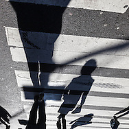 New york,  shadows of pedestrians , people walking in the streets on fifth avenue  New York, Manhattan - United states