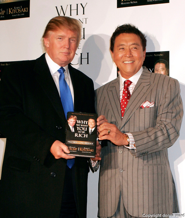 "Donald Trump and Robert Kiyosaki appear at press conference to launch their book ""Why We Want You To Be Rich - Two Men One Message"" at Trump Tower on Thursday, October 12, 2006 in New York."