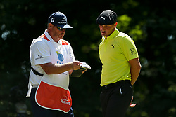 September 2, 2018 - Norton, Massachusetts, United States - Bryson DeChambeau (R) and his caddie Tim Tucker on the 9th tee during the third round of the Dell Technologies Championship. (Credit Image: © Debby Wong/ZUMA Wire)