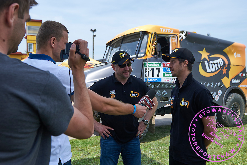 Drivers (L) Jaroslaw Kazberuk and (R) Robin Szustkowski both from Poland while tv interview during training session on rally cross track on May 19, 2015 in Slomczyn, Poland<br /> <br /> Poland, Slomczyn, May 19, 2015<br /> <br /> Picture also available in RAW (NEF) or TIFF format on special request.<br /> <br /> For editorial use only. Any commercial or promotional use requires permission.<br /> <br /> Adam Nurkiewicz declares that he has no rights to the image of people at the photographs of his authorship.<br /> <br /> Mandatory credit:<br /> Photo by &copy; Adam Nurkiewicz / Mediasport