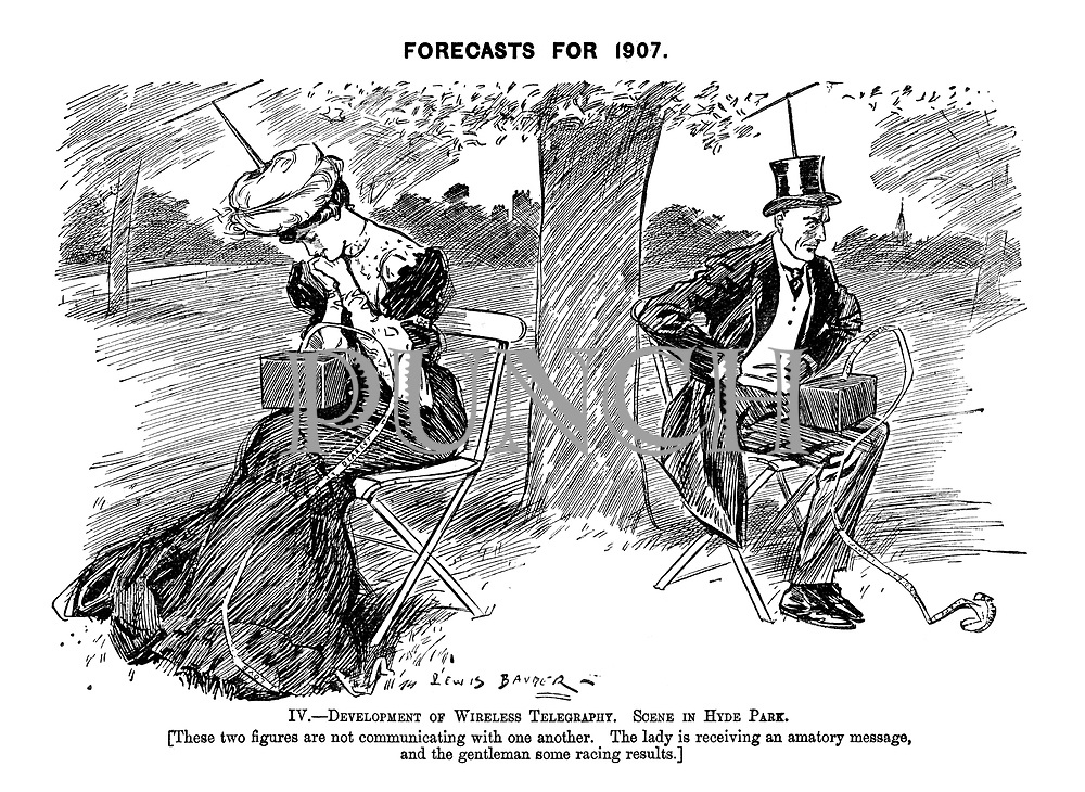 Forecasts for 1907. IV. - The Development of Wireless Telegraphy. Scene in Hyde Park. [These two figures are not communicating with one another. The lady is receiving an amatory message, and the gentleman some racing results.]
