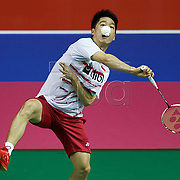 epa06158394 Kevin Sanjaya Sukamuljo (L) and Marcus Fenaldi Gideon of Indonesia in action against  Liao Kuan Hao and Lu Chia Pin of Chinese Taipei in the men's doubles 3rd round of the BWF Badminton World Championships in Glasgow, Britain, 23 August 2017.  EPA-EFE/ROBERT PERRY