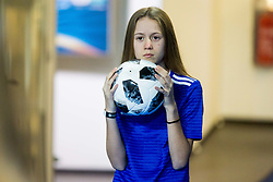 Ball girl during futsal match between Poland and Russia at Day 1 of UEFA Futsal EURO 2018, on January 30, 2018 in Arena Stozice, Ljubljana, Slovenia. Photo by Ziga Zupan / Sportida