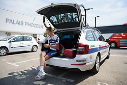 Cecilie Uttrup Ludwig waits for the start time at La Course High Speed Pursuit 2017 - a 22.5 km pursuit road race on July 22, 2017, in Marseille, France. (Photo by Sean Robinson/Velofocus.com)