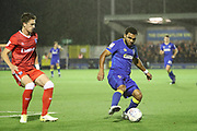 AFC Wimbledon striker Andy Barcham (17) dribbling during the EFL Sky Bet League 1 match between AFC Wimbledon and Gillingham at the Cherry Red Records Stadium, Kingston, England on 12 September 2017. Photo by Matthew Redman.