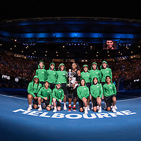 Serena Williams of the United States with ball kids after the women's final on day thirteen of the 2017 Australian Open at Melbourne Park on January 28, 2017 in Melbourne, Australia.<br /> (Ben Solomon/Tennis Australia)