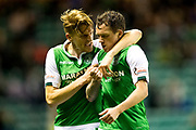 Hibernian midfielder Danny Swanson (#11) celebrates Hibernian's second goal (2-2) with Hibernian midfielder Vykintas Slivka (#8) during the Betfred Scottish Cup match between Hibernian and Livingston at Easter Road, Edinburgh, Scotland on 19 September 2017. Photo by Craig Doyle.