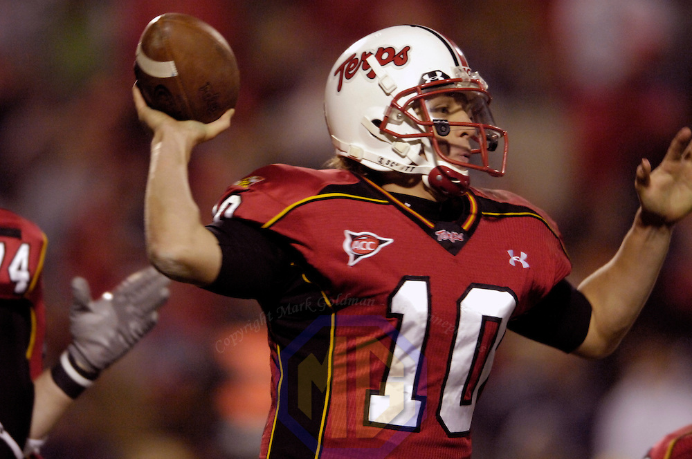 10 November 2007:  Univesity of Maryland quarterback Chris Turner(10)completes a pass in the 2nd quarter quarter against the Boston College Eagles on November 10, 2007 at Byrd Stadium in College Park, MD. The University of Maryland Terrapins defeated the Boston College Eagles 42-35.