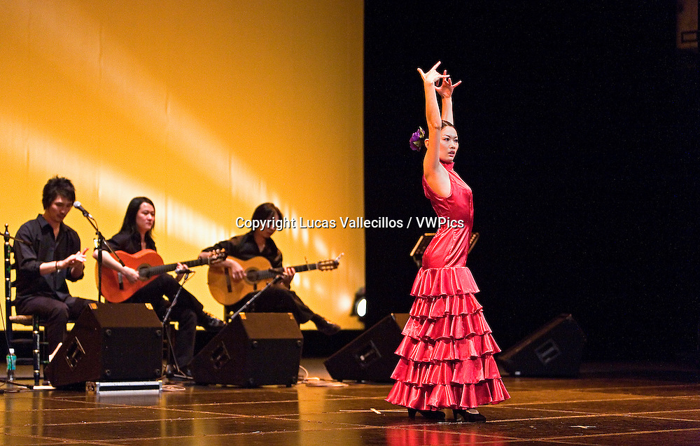 Flamenco dancer.Ruiko Ogata is a  Kayoko Nakata student, dancing for the first time in a theater. In Morioka theatre.Morioka,Iwate prefecture,Japan.