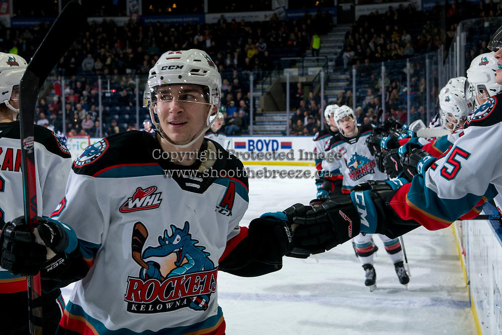 KELOWNA, BC - FEBRUARY 12: Dillon Hamaliuk #22 of the Kelowna Rockets celebrates a second period goal against the Tri-City Americans at Prospera Place on February 8, 2020 in Kelowna, Canada. (Photo by Marissa Baecker/Shoot the Breeze)