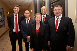 CARDIFF, WALES - Wednesday, June 1, 2016: Wales' James Turner, Paul Harris, performance analyst Esther Laugharne, coach Paul Trollope and assistant manager Osian Roberts during a charity send-off gala dinner at the Vale Resort Hotel ahead of the UEFA Euro 2016. (Pic by David Rawcliffe/Propaganda)