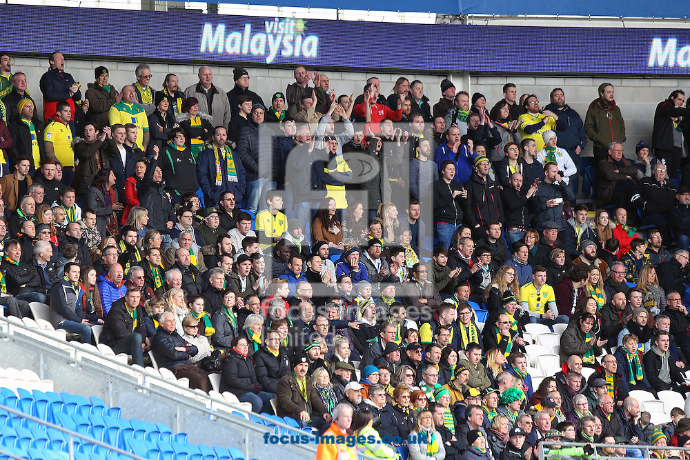 The traveling Norwich fans during the Sky Bet Championship match at the Cardiff City Stadium, Cardiff<br /> Picture by Paul Chesterton/Focus Images Ltd +44 7904 640267<br /> 04/02/2017