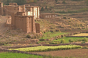 Kasbah in small mountain village, Ait Boughmez valley, high atlas mountains, Morocco.