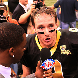 13 January 2007: New Orleans Saints quarterback Drew Brees (9) is interviewed by NFL Network's Clinton Portis following a 27-24 win by the New Orleans Saints over the Philadelphia Eagles in the NFC Divisional round playoff game at the Louisiana Superdome in New Orleans, LA. The win advanced the New Orleans Saints to the NFC Championship game for the first time in the franchise's history.