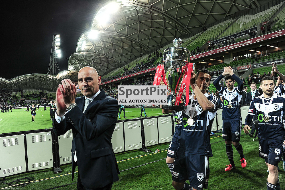 Head coach of Melbourne Victory Kevin Muscat & Daniel Georgievski of Melbourne Victory - Victory celebrate after their 2:0 win over Perth in the Westfield FFA Cup Final, 7th November 2015, Melbourne Victory FC v Perth Glory FC - © Mark Avellino | SportPix.org.uk
