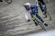 #150 during practice at the 2018 UCI BMX World Championships in Baku, Azerbaijan.