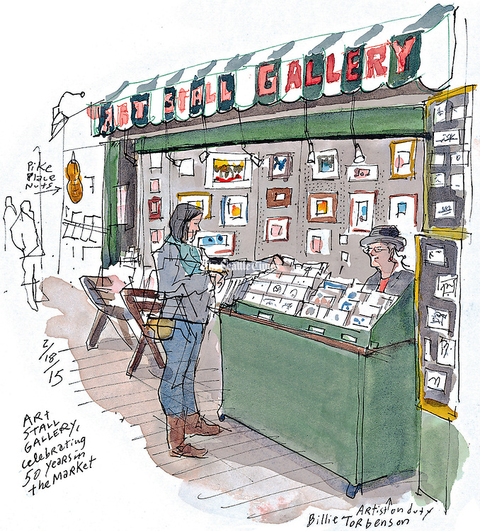 A tiny art gallery celebrates five decades at Pike Place Market.<br /> Gabriel Campanario / The Seattle Times