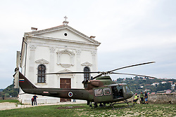After two months of restoration, the Statue of Archangel Michael, made of copper plate, returned to Piran. The image shows a helicopter parked next to the St. George's Parish Church, on October 15, 2018 in Piran, Slovenia. Photo by Matic Klansek Velej / Sportida