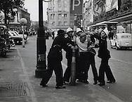 Belgium:1956.Police arrest demonstrator<br /> during language fight between French and Flemish demonstrators.<br /> <br /> Belgique: 1956. Policers arretant   des manifestants lors de la lutte de la langue entre les manifestants fran&ccedil;ais et flamands .