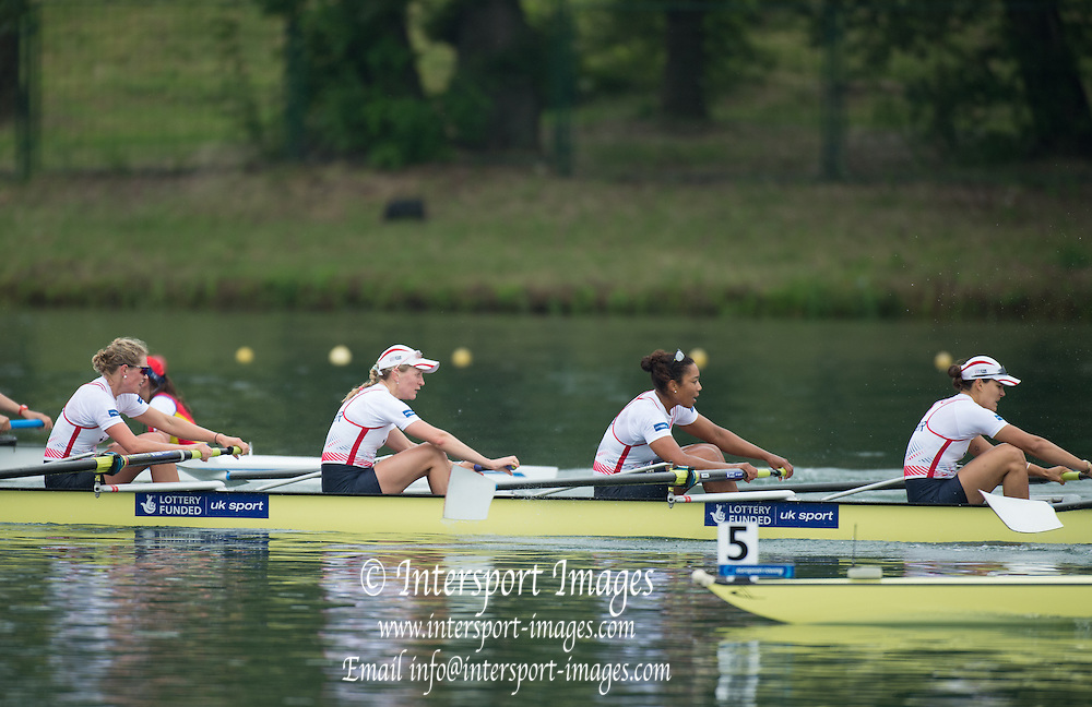 Belgrade, SERBIA,  GBR W8+ winning the silver medal at the 2014 FISA European Rowing Championships. Lake Sava.<br /> <br /> <br /> 13:54:14  Sunday  01/06/2014<br /> <br /> [Mandatory Credit; Peter Spurrier/Intersport-images]