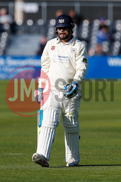 Kieran Noema-Barnett of Gloucestershire walks having been caught out by Wes Durston of Derbyshire for 21 (b. Mark Footitt) - Photo mandatory by-line: Rogan Thomson/JMP - 07966 386802 - 26/04/2015 - SPORT - CRICKET - Bristol, England - Bristol County Ground - Gloucestershire v Derbyshire — Day 1 - LV= County Championship Division Two.