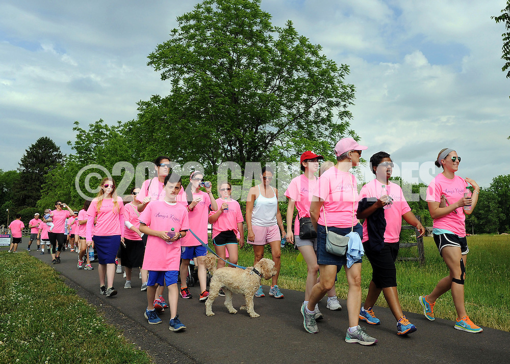 Participants walk through Tyler State Park during the Amy's Kisses Third Annual Walk to Remember Sunday May 31, 2015 in Richboro, Pennsylvania. The charity's goal is to donate money to low income students who would like to pursue a college education. (Photo by William Thomas Cain/Cain Images)