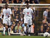 Photo: Paul Thomas.<br /> Tottenham Hotspur v Sevilla. UEFA Cup. Quarter Final, 2nd Leg. 12/04/2007.<br /> <br /> Dejected Spurs captain Ledley King (C) and team.
