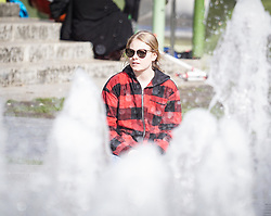 May 4, 2019 - Manchester, England, United Kingdom - A woman relaxes during the fine weather  in Manchester , 4 May 2019. (Credit Image: © Giannis Alexopoulos/NurPhoto via ZUMA Press)