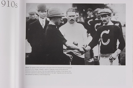 """The captains shake hand prior to the start of the 1913 Munster final at Dungarvan. On the left is Pat """"Wedger"""" Meagher, captain of Tipperary, known at the time as the Toomevara Greyhounds because they were spearheaded by members of that famous club. Cork were captained by Barry Murphy (pictured on the right). Tipperary won this match but were defeated by Kilkenny in the All-Ireland final."""
