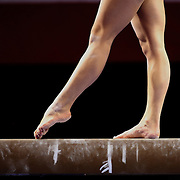 Feet on the Balance Beam during the Senior Women Competition at The 2013 P&G Gymnastics Championships, USA Gymnastics' National Championships at the XL, Centre, Hartford, Connecticut, USA. 15th August 2013. Photo Tim Clayton