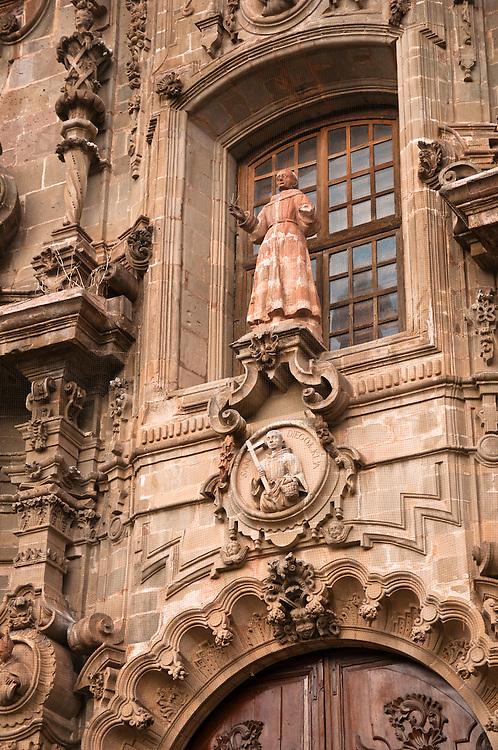 Mexican Churrigueresque style facade of Templo de San Diego in Guanajuato, Mexico.