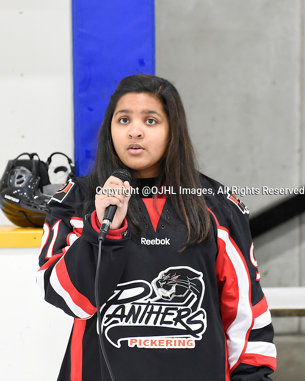 PICKERING, ON - Nov 13, 2015 : Ontario Junior Hockey League game action between Kingston and Pickering, Eyrica D'Rozano sings the National Anthem during a special pre-game ceremony.<br /> (Photo by Andy Corneau / OJHL Images)