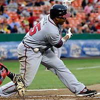 16 May 2007:   Atlanta Braves center fielder Andruw Jones is hit by a foul ball in the 3rd inning against Washington Nationals pitcher Levale Speigner .  The Nationals defeated the Braves 6-4 at RFK Stadium in Washington, D.C.  ****For Editorial Use Only****