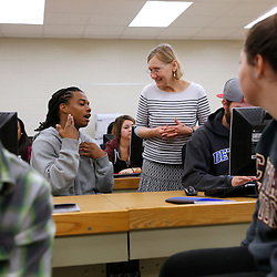 Students in Sociology 350 class of Brigitte Bechtold work in small groups in Moore Hall at Central Michigan University in November 2014.   Photo by Steve Jessmore/Central Michigan University