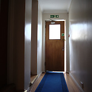 A corridor in a hotel for temporary accommodation in London. Families and individuals are placed in temporary rooms by the Hammersmith and Fulham council until a permanent home would be available for them. Hostel Dani.