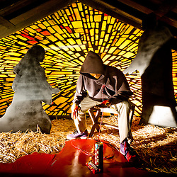 The Claremont United Methodist Church features thought-provoking and controversial nativity scenes every Holiday Season. <br />