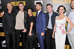 """(L-R) """"Preacher"""" Cast - Pip Torrens, Joseph Gilgun, Ruth Negga, Dominic Cooper, Ian Colletti and Julie Ann Emery at AMC's """"Preacher"""" Season 2 Premiere Screening held at the Theater at the Ace Hotel in Los Angeles, CA on Tuesday, June 20, 2017.  (Photo By Sthanlee B. Mirador) *** Please Use Credit from Credit Field ***"""
